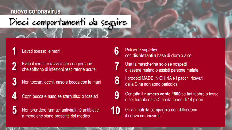 Coronavirus - decalogo sicurezza